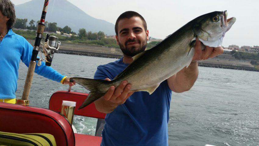 Pesca al Serra dalla barca a Palinuro